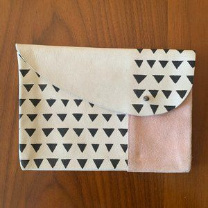 Minimalist Block Printed Leather Pouch/Clutch